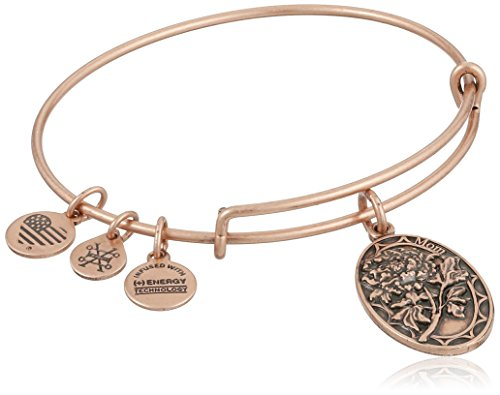 Alex and Ani Because I love you, Mom II Expandable Rafaelian Rose Gold Finish Bangle Bracelet, 0.65 x 1-Inches
