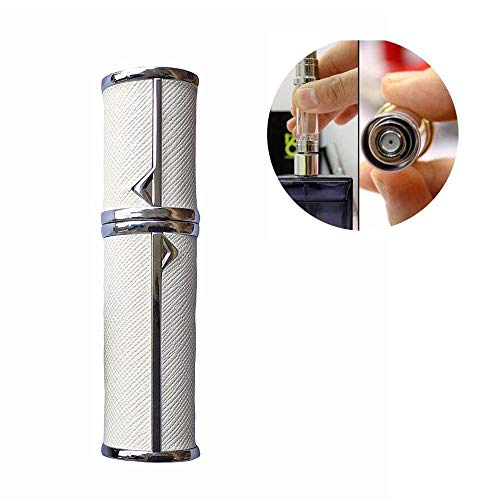 Yeejok Refillable Perfume Bottle Atomizer for Travel, Portable Easy Pump Refill Perfume Leather Spray Bottle for Men and Women with 5ml Pocket Size, White