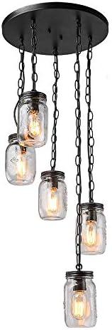 Bagood 5 Chandelier Spiral Glass Jar Ceiling Linear Kitchen Island Light fixtures, Five