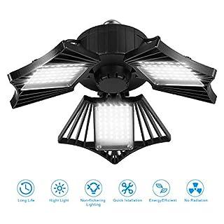80W LED Garage Lights, Deformable LED Garage Ceiling Lights with 3 Adjustable Wings, 8000LM, E26 LED Shop Light for Warehouse, Workshop, Basement (No Motion Detection) (1 Pack)