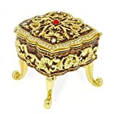24k Gold-Plated, Swarovski Crystal Gold Enameled Footed Keepsake Box