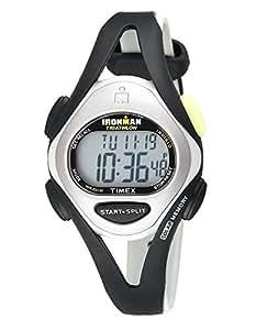 Timex Women's T59201 Ironman Sleek 50-Lap Silver-Tone/Black Resin Strap Watch