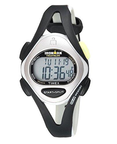 Price comparison product image Timex Women's T59201 Ironman Sleek 50-Lap Silver-Tone/Black Resin Strap Watch