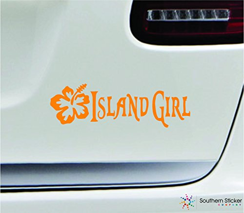 Island girl hibiscus flower 7x2.2 orange tropical ocean beach sand sea hawaii united states america color sticker state decal vinyl - Made and Shipped in USA