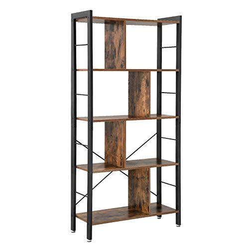 VASAGLE Bookcase, 4 Tier Industrial Bookshelf, Floor Standing Storage Rack in Living Room Office Study, Large Storage Space, Simple Assembly, Stable Iron Frame, Rustic ULBC12BX (Coffee Corners Table Rounded With)