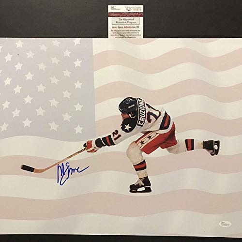 Autographed/Signed Mike Eruzione 1980 Team USA Flag Olympics Miracle on Ice 16x20 Hockey Photo JSA -