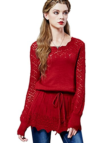 Artka Women's Wool Knitted Sweater Pullover Scoop Neck Plus Size Lace Long Sleeve (Red) -
