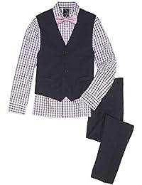 Boys' 4-Piece Vest Set with Dress Shirt, Bow Tie, Pants, and Vest