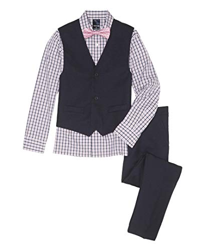 (Izod boys 4-Piece Vest Set with Dress Shirt, Bow Tie, Pants, and Vest, Little Pink, 12)