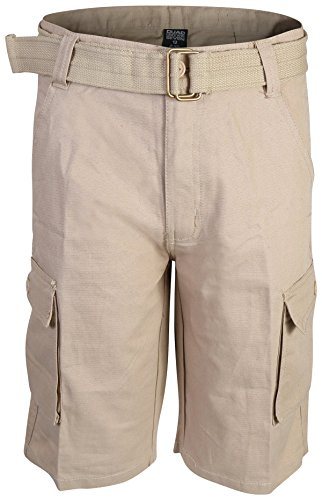 Quad Seven Boys Ripstop Belted Cargo Shorts, Khaki 1, Size 12' - Belted Cargo Trousers