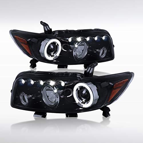 Autozensation For Scion xB bB Glossy Black LED Halo Rim Projector Headlights Pair