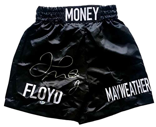 Floyd Mayweather Jr Signed Custom Money Black Boxing Trunks Beckett BAS - Beckett Authentication - Autographed Boxing Robes and Trunks Autographed Custom Boxing Trunks