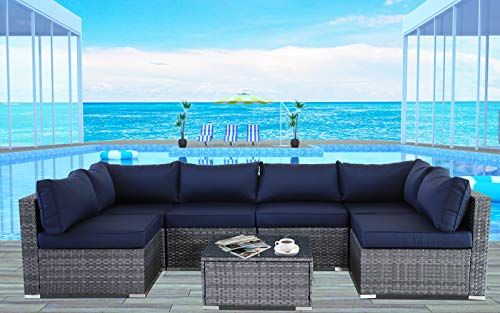 JETIME Outdoor Rattan Furniture 7pcs Patio Grey Conversation Set Garden Sofa Set Sectional Couch with Navy Cushion