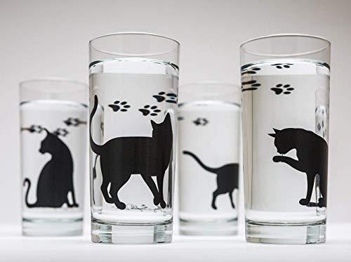 et - Set of Four 16oz Glasses, Black Cats, Cat Glasses, Cat Lovers, Birthday ()