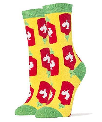 Oooh Yeah! Socks, Womens Cotton Crew Socks (Holy Sriracha!) (Sriracha Socks)