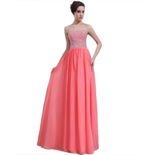 Chiffon Wassermelone Linie Dearta Ausschnitt Etui Kleidungen Bodenlang Rot Abendkleider Damen Herz qfw0RAx