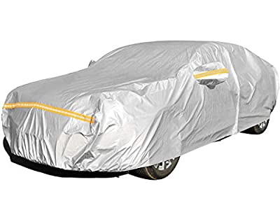 Autsop Car Covers Waterproof,Car Cover for Sedan/SUV/Hatchback 4 Layers All Weather Protection Universal Full Cover with Zipper