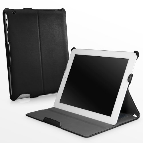 BoxWave Nero Leather Apple iPad 3, iPad 4 Book Jacket with Strap - Slim Vegan Leather iPad 4 Folio Case w/ Magnet Activated Sleep/Wake Smart Cover, Multi-Angle Stand and Hand Strap for Apple iPad 4th Generation, Compatible with iPad 3, iPad 4 0 Folio Case