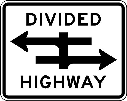 Traffic Signs - Divided Highway Crossing 12 x 18 Magnet Sign Street Weather Approved Sign ()