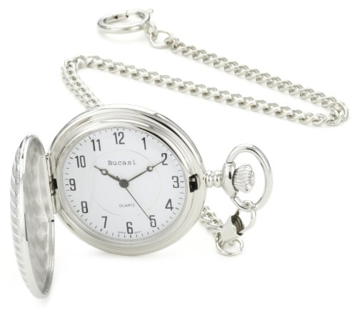 Bucasi PW1020SG Hunting Case Engravable Silver Gold Tone Chain Pocket Watch