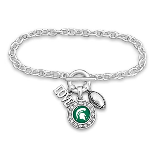 Michigan State Spartans Silver Tone Football and