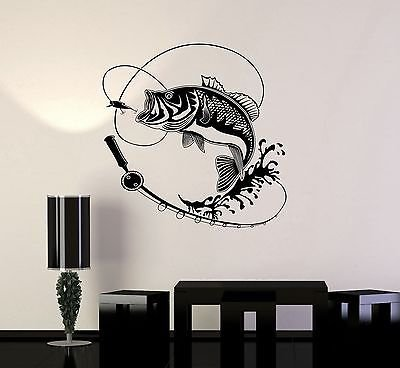 V-studios Vinyl Decal Fish Fishing Rod Hobbies Man Wall Stickers Mural VS597 (Fishing Wall Decals)