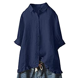 Orchidamor Women Lace Button Turn Down Collar Middle Sleeve Solid Color T Shirt Top Blouse Navy