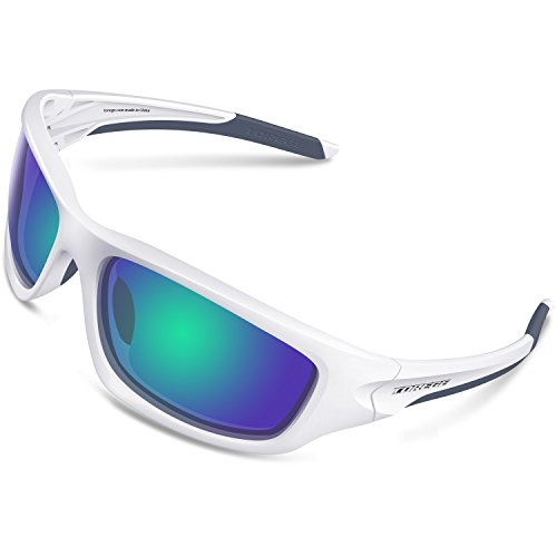 TOREGE Polarized Sports Sunglasses for Man Women Cycling Running Fishing Golf TR90 Unbreakable Frame TR011 (White&Black Frame with Green Lens)