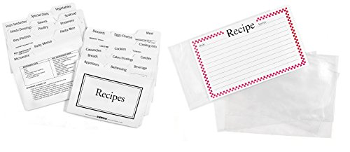 Plastic Divider Card - Labeleze Recipe Card Protectors and Dividers For Easy Recipe Storage, 4x6 Inches