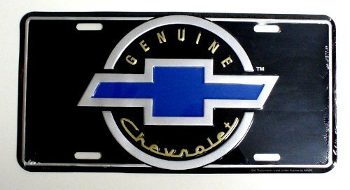 Genuine Chevrolet License Plate - Chevy Blue Bowtie On Black 6
