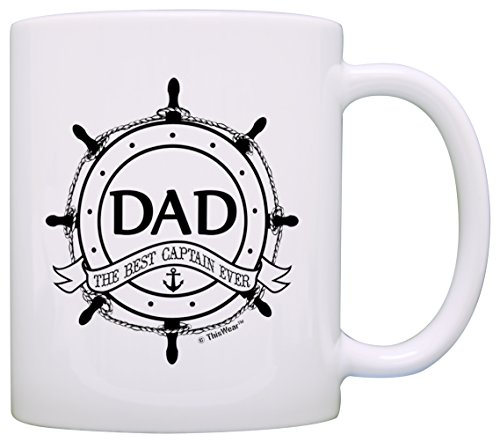(Father's Day Gift for Dad Best Captain Ever Nautical Ship's Wheel Gift Coffee Mug Tea Cup)