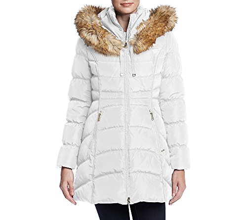 Laundry By Shelli Segal Women's Down-3/4 Windbreaker with Faux Fur Trim Hood, Real White, L