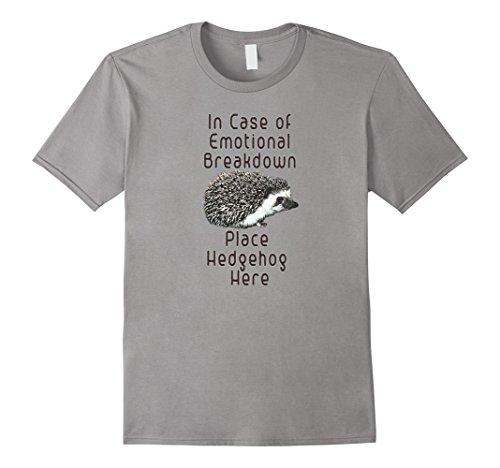 Mens In Case of Emotional Breakdown Place Hedgehog Here Tee Shirt XL (Mens Hedgehog)