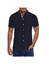 ETHANOL Mens Slim Fit Short Sleeve Button Down Polo Oxford Shirt
