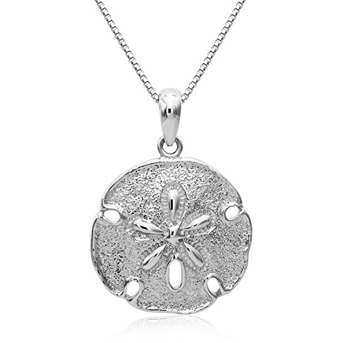 Sterling Silver Solid Two Sides Medium Size Sand Dollar Starfish Charm Necklace. (20