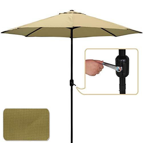 ABCCANOPY Commercial Event Market Aluminum Umbrella 9 FT Patio Umbrella with Push Button Tilt and Crank,Beige