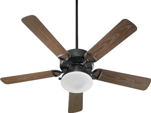 Quorum International 143525-995 Estate 2-Light Patio Ceiling Fan with Satin Opal Glass Light Kit and Walnut ABS Blades, 52-Inch, Old World Finish ()
