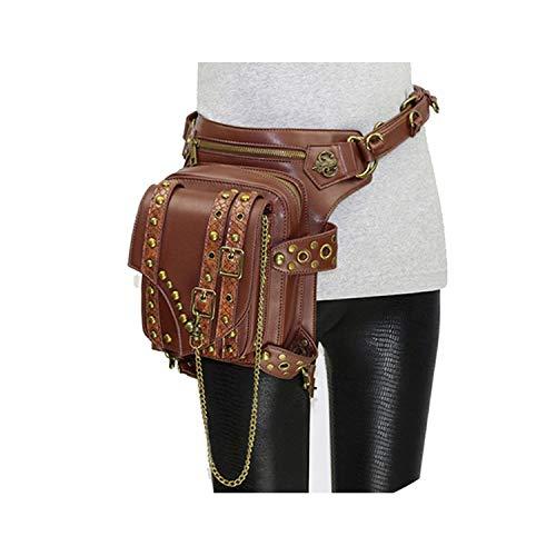 Women Steampunk Waist Leg Bags Vintage Men Holster Bag Motorcycle Thigh Hip Belt Packs Punk Rock Messenger Shoulder Bag,81Brown