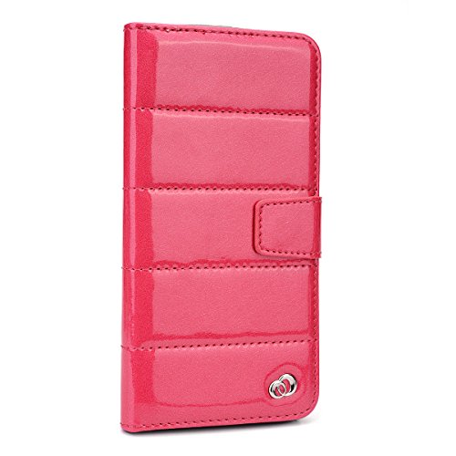 Kroo Glossy Bubble Flip Folio Wallet Case for Apple iPhone 6 Plus - Non-Retail Packaging - Pink (Pink Leather Kroo Case)