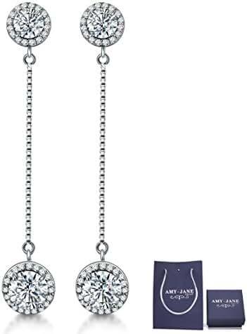 Sterling Silver Clear Crystal Earrings- Round Diamond Cut Earrings for Women Gift Pack …
