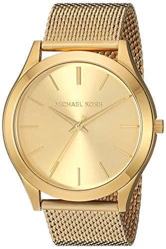 Michael Kors Men's Slim Runway Quartz Stainless-Steel Strap, Gold, 21.9 Casual Watch (Model: ()