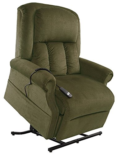 Mega Motion Easy Comfort Superior 3 Position Heavy Duty Big Lift Chair 500 lb capacity Chaise Lounge Recliner - Forest Green Fabric (Green Motion Recliner Chair)