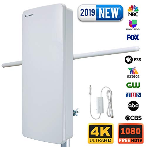(Outdoor HDTV Antenna-ANTOP 400-BV Flat Panel Amplified Antenna with Noise-Free 4G Filter for VHF Enhanced, 70 Miles Multi-Directional Reception Range, 39ft Detachable Coaxial Cable,)
