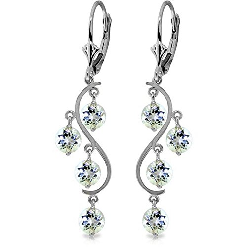 ALARRI 4.5 Carat 14K Solid White Gold Vanilla Love Aquamarine Earrings by ALARRI (Image #2)