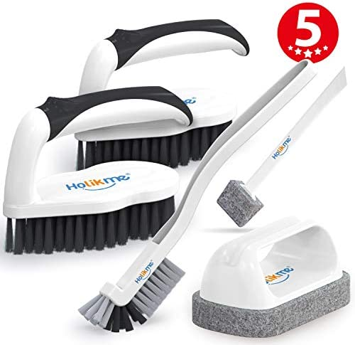 Holikme 5 pack Deep Clean Brush Set,Scrub Brush&Grout and Corner brush&Scrub padsScraper Tip&Scouring pads,for bathroomFloor Tub Shower Tile Bathroom and Kitchen Surface(Black)