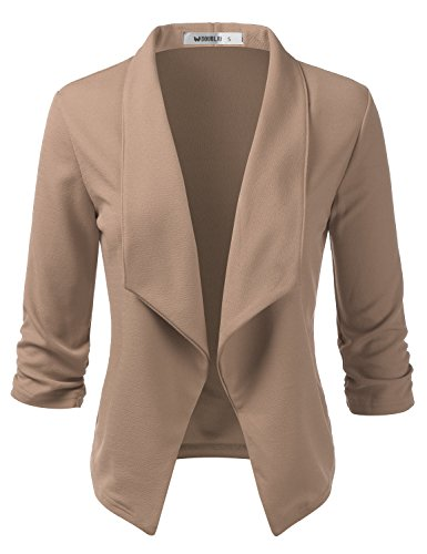 CLOVERY Women's 3/4 Sleeve Open Front Lightweight Work Office Blazer Jacket Mocha XL Plus Size