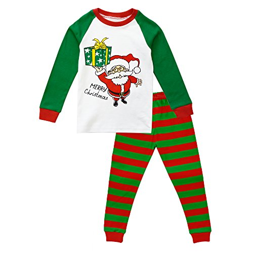(KISBINI Toddler Boy's Girls 2-Piece Pajamas Cotton Pajama Set for Xmas Green 2T)