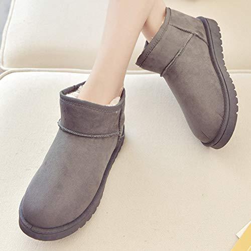 De Boots Hiver Femme Chaude Neige Bottines Cheville Chaussures Doublure Gris Bottes x7zwqqC6