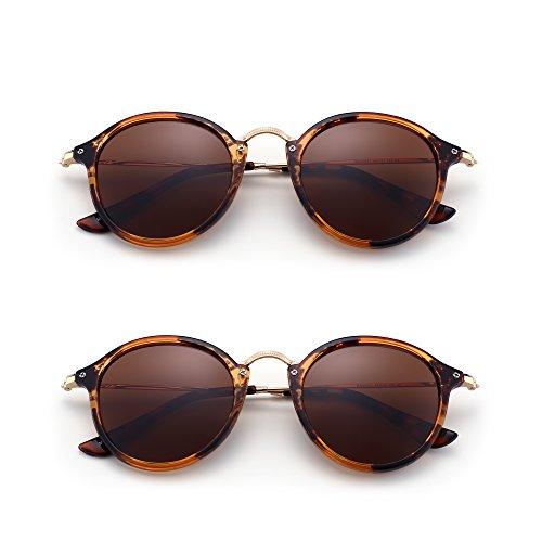 Lentes Marrón de Paquete de Mujer 2 Gafas Pequeño Polarizadas Hombre Sol Tintado Espejo Retro Redondas Circulo qYTgZXxg6