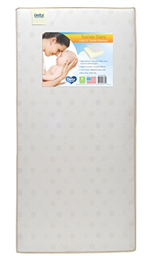 Delta Children Twinkle Stars Fiber Core Crib and Toddler Mattress | Waterproof | Lightweight | GREENGUARD Gold Certified (Natural/Non-Toxic) (Square White Childrens Gold)